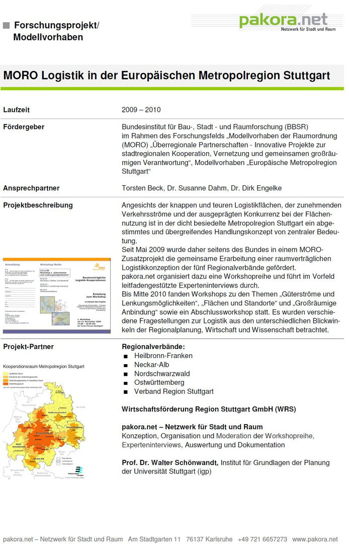 pakora.net - Netzwerk für Stadt und Raum - MORO Logistik (2009-2010)
